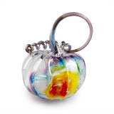 A glass rainbow pumpkin with a large, looped silver stem