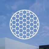 A white honeycomb pattern in a circle on top of an image of a blue sky and a white rectangular building