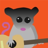 a cartoon possum holds a guitar