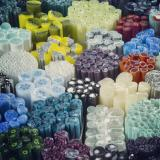 Bundles of multicolored and patterned rods of glass