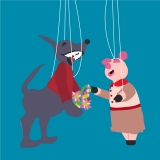 a cartoon puppet wolf and pig